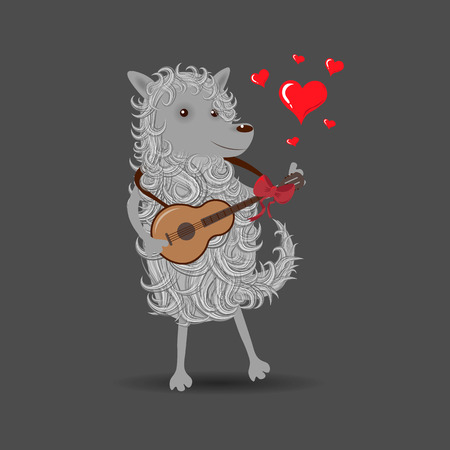 Funny white cartoon fluffy dog playing a guitar singing about love 10 eps