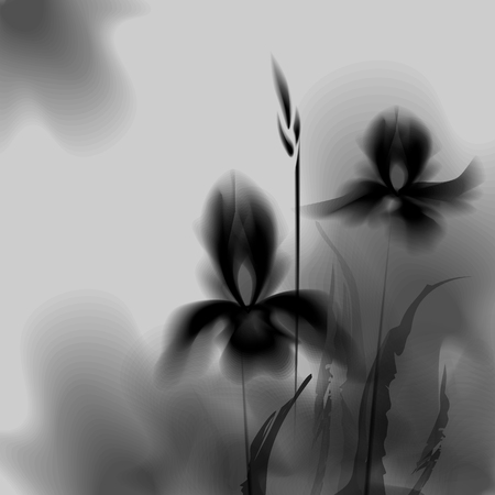 Floral background. Calligraphy ink. Stylized calligraphic ink iris. Irises ink effect. Stylization under the work of Chinese artists. 10 eps Vetores