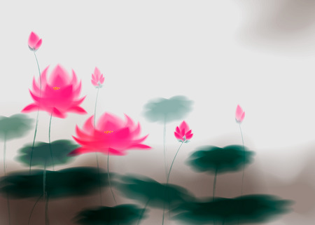 Card with lotus flower, lotus ink effect. Stylization under the work of Chinese artists. 10 eps Illustration