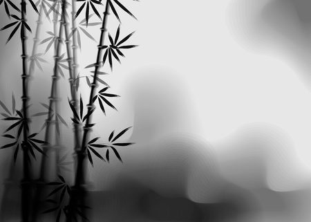 bamboo ink effect. Stylization under the work of Chinese artists. 10 eps