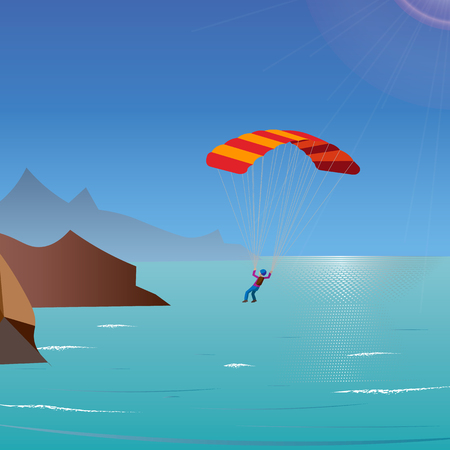 skydiver flies over the sea and mountains. parachuting and extreme sport