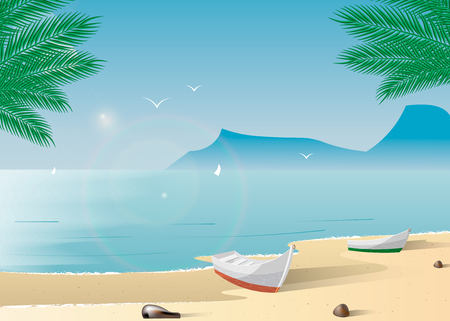A boat on a tropical beach. Summer holiday on the tropical shore 10 eps