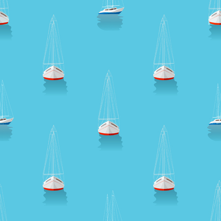Marine print. Seamless pattern with yachts in the blue sea 10 eps Illustration