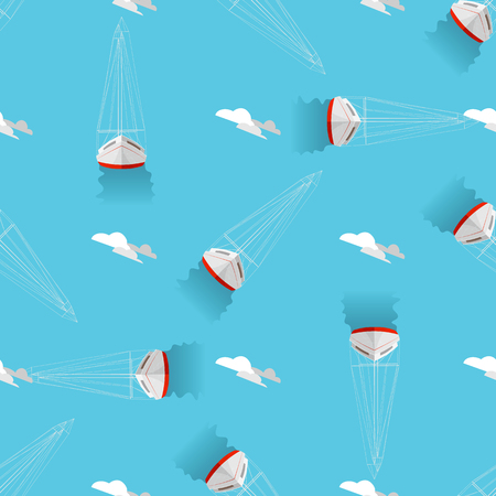 Sea print Seamless pattern with yachts and clouds 10 eps Illustration