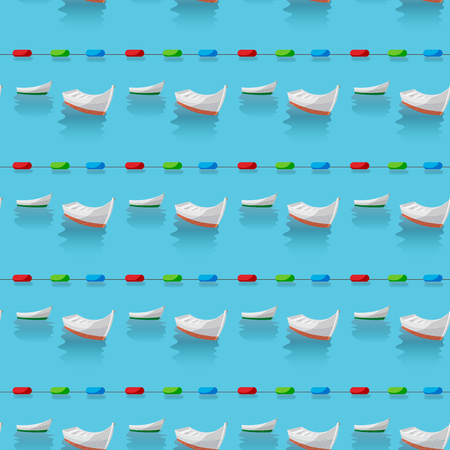 Seamless pattern of boats in the blue sea and restrictive buoys 10 eps