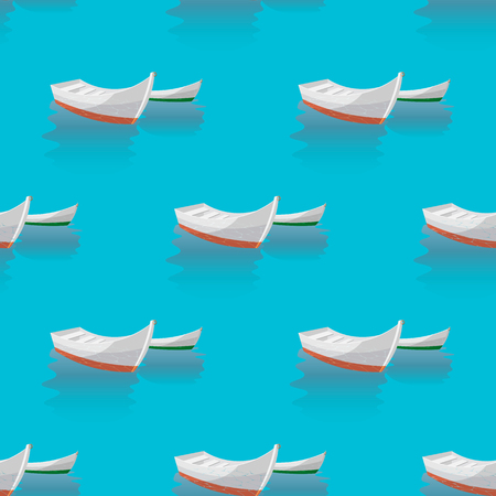 Marine print. Seamless pattern boat sailing in blue sea. the boats are laid up 10 eps Illustration