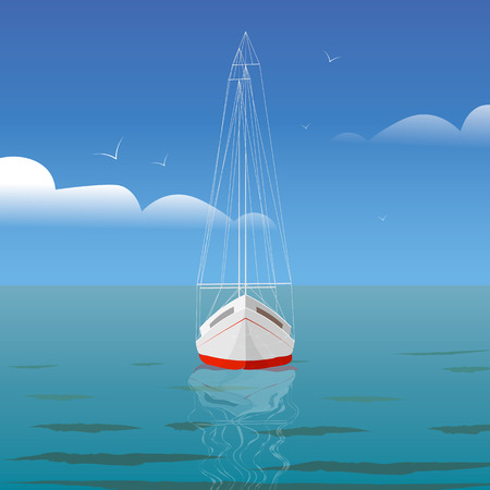Yacht at sea with reflection and seagulls front view Ilustracja
