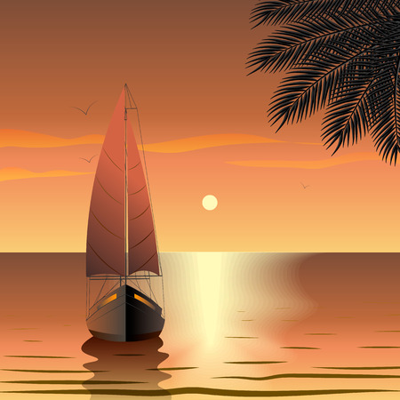 Yacht with sails in the sea at sunset near a tropical island. 10 eps