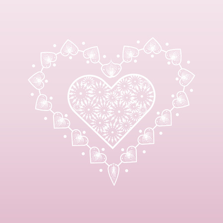 Valentine s day background. White lacy heart 10 eps Illusztráció