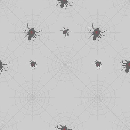 Halloween-Druck. Spinnen auf Webs auf grauem Hintergrund. nahtloses Muster 10 eps