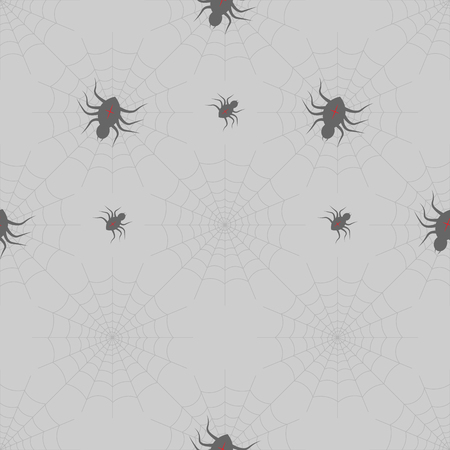 halloween print. Spiders on Webs on gray background. seamless pattern 10 eps