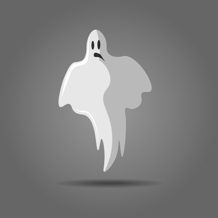 Vector illustration of white ghost, phantom silhouette isolated on gray background. Halloween spooky monster, scary spirit or poltergeist flying in night. Mystic creature without body 10 eps Vectores