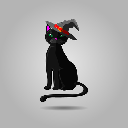 Halloween black cat in witch hat. Vector animal isolated on gray background. Witch cat in hat 10 eps