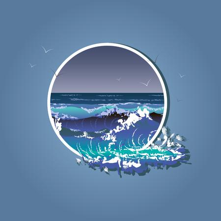 Illustration des grosses vagues dans un cadre blanc. Tempête de mer 10 eps