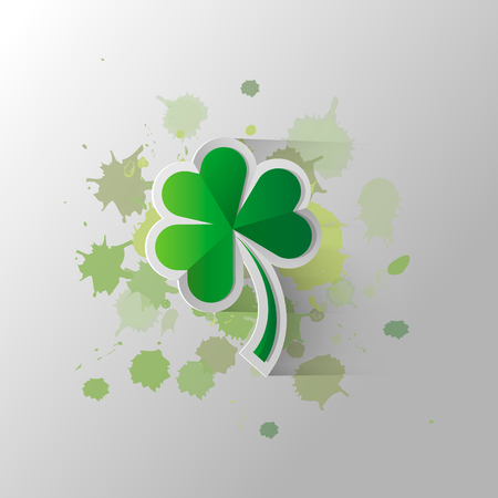 Four leaf clover isolated on a background of paint stains, vector illustration for St. Patrick s day