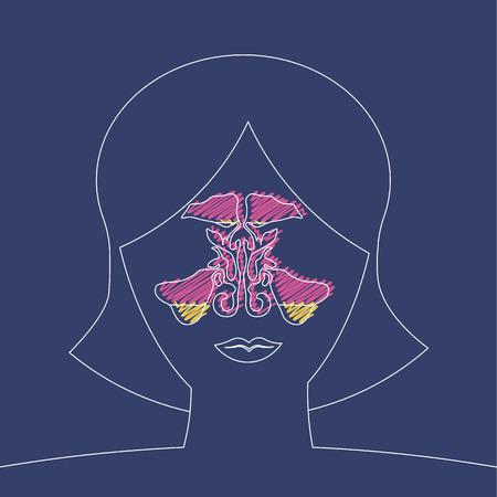 strokes stylized medical illustration. sinusitis disease, vector nose illustration, sinus anatomy, human respiratory system 10 eps