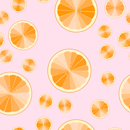 seamless pattern of cartoon orange slices. fruit print. Vector illustration. 10 eps