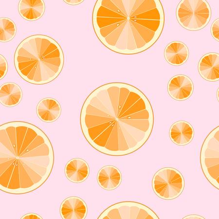 seamless pattern of cartoon orange slices. fruit print. Vector illustration. 10 eps