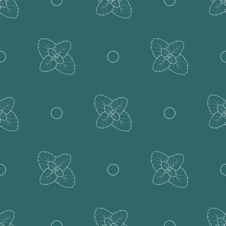 Herb print. seamless pattern with mint leafs. 10 eps