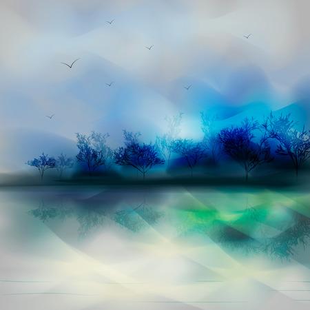 Landscape in blue tones. trees and lake in the fog. Ink effect 10 eps Ilustração