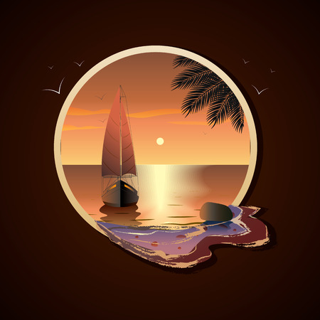 Yacht with sails in the sea at sunset near a tropical island in frame 向量圖像