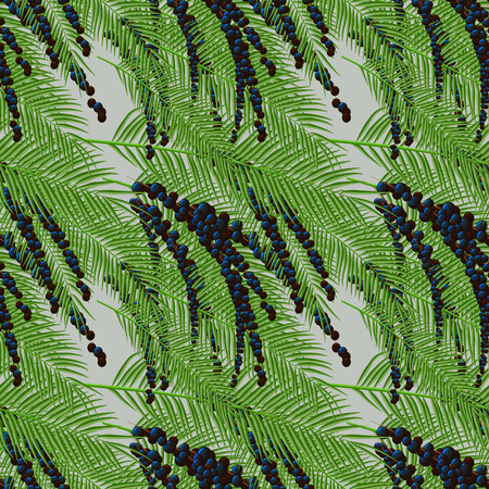 Flora Euterpel print Seamless pattern with acai berries and acai palm. 10 eps
