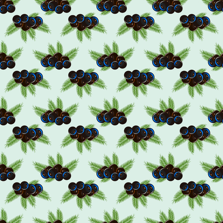 Seamless pattern acai berry with palm leaves. 10 eps