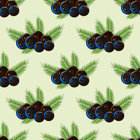 Black acai berry flat icon with palm leaves. Seamless pattern 10 eps Illustration