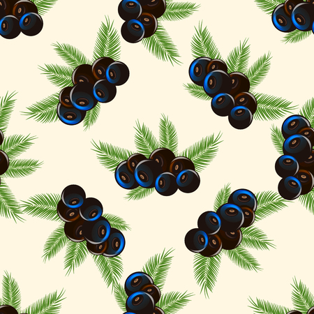 vector print of eco food. acai berry with palm leaves Seamless pattern 10 eps Illustration