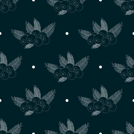 silhouette acai berry flat icon with palm leaves. Seamless pattern 10 eps
