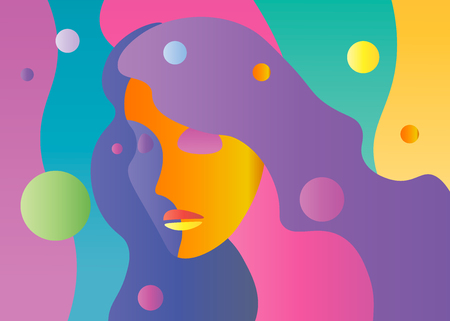 Vector abstract bright color young female face