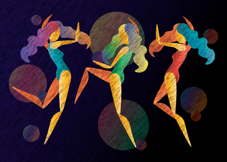 three vector abstract bright color dancing girls 10 eps