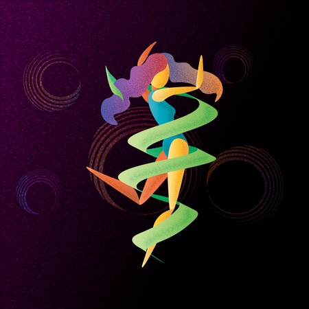 abstract bright color dancing girl with ribbon 10 eps