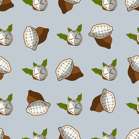 Cupuacu exotic cupuassu, cupuazu and copoasu, tropical cacao fruit seamless pattern 10 eps