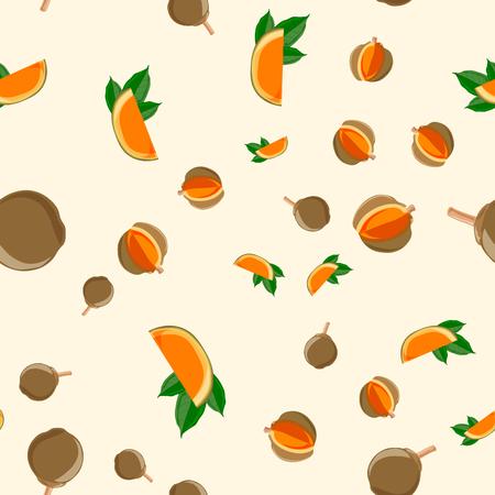 seamless pattern Eco food Quararibea cordata. South American sapote or chupa-chupa 10 eps