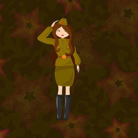 Military woman in the form of the Red Army. Russian retro soldier. 10 eps