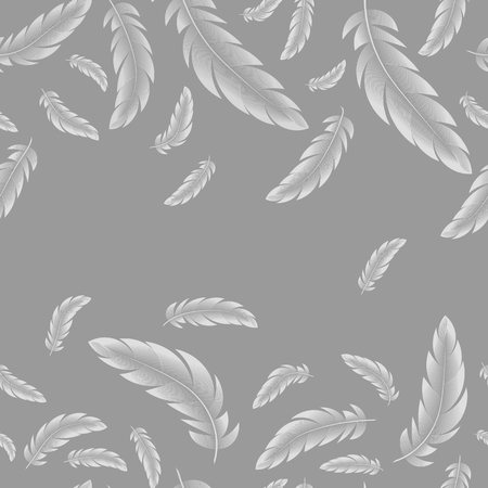 abstract Vector seamless pattern, white feathers on gray background. 10 eps