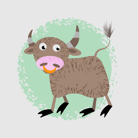 Cartoon Vector Illustration of Funny Bull Farm Animal Character 10 eps