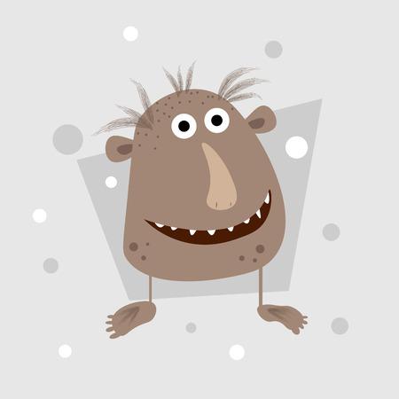 Happy cool cartoon fat monster. vector monster character 10 eps