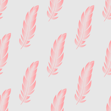 Vector seamless pattern with pink feathers of birds 10 eps Ilustrace