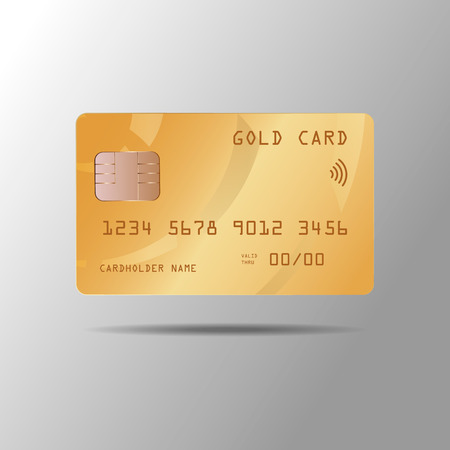 Vector illustration of a realistic gold credit card isolated on gray background 10 eps