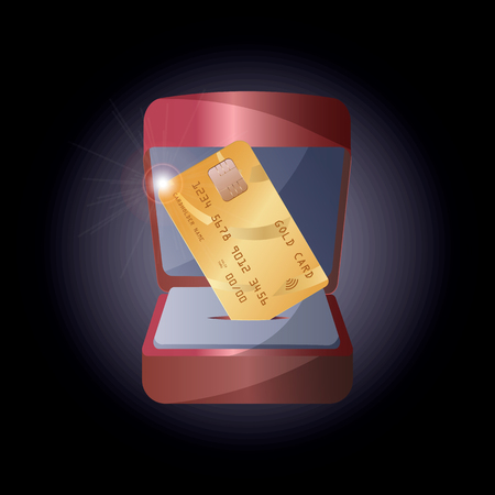 Vector illustration of a realistic gold credit card in a gift box for jewelry. 10 eps