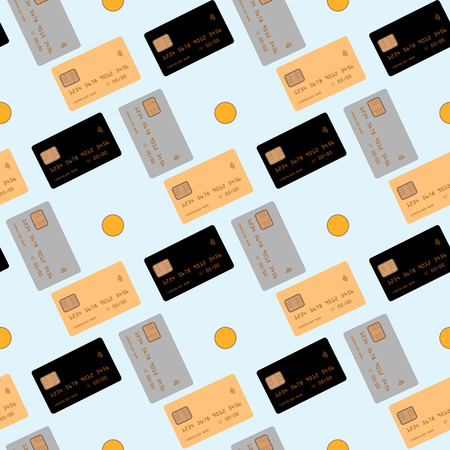 Credit card isolated on blue background. Seamless pattern vector illustration 10 eps