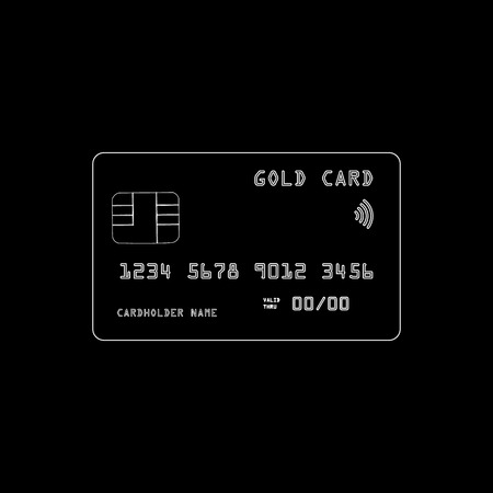 Vector illustration of a gold credit card isolated on dark background 10 eps