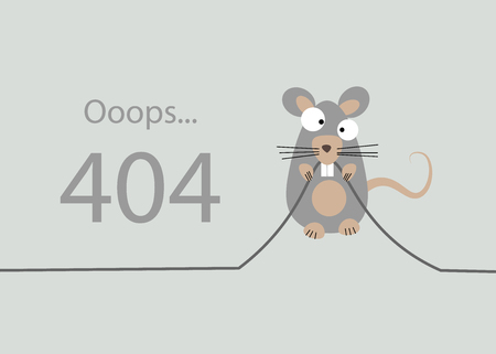 the rat gnawed the cable. 404 Error, page not found. Connection error. Vector illustration 10 eps Illustration