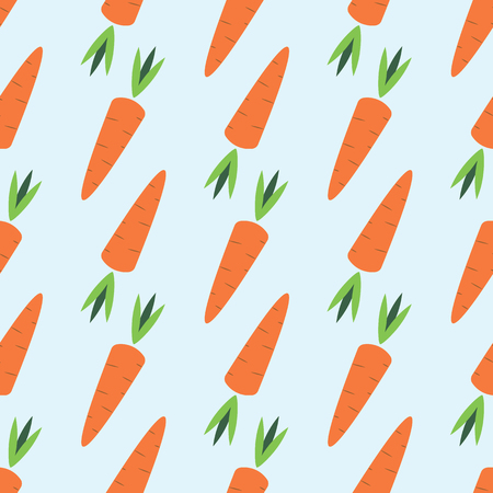 Carrot seamless vegetable pattern vector flat illustration. Fresh food pattern with carrot vegetable 10 eps Ilustrace