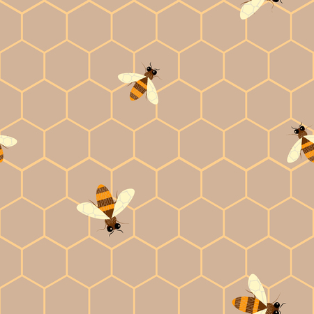 Vector Seamless pattern with bee and honeycomb . Modern abstract honey design for paper, fabric, interior decor and other users. 10 eps