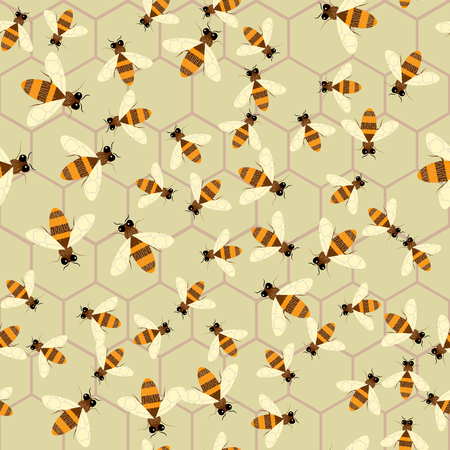 Abstract honey print. Vector seamless pattern with bee and honeycomb 10 eps