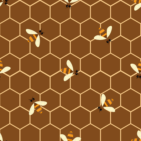 Vector seamless pattern with bee and honeycomb 10 eps