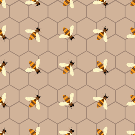 Seamless geometric pattern with bee. Modern abstract honey design 10 eps